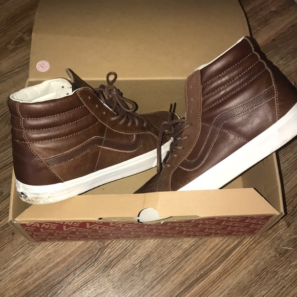 ad3e2a4d12892e VANS Leather Sk8-Hi Reissue High Top Brown Shoes. M 5b70a8d21e2d2d4c38c20e84